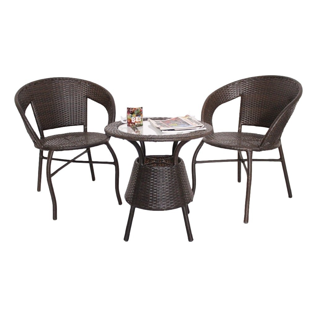 Furnifuture unique outdoor furniture 2 chairs and table set with glass top brown amazon in home kitchen