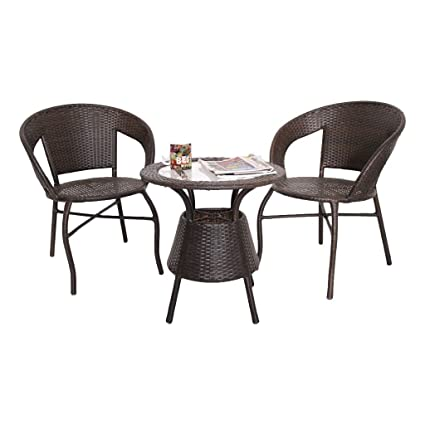 FurniFuture™ Unique Outdoor Furniture 2 Chairs and Table Set (Brown)
