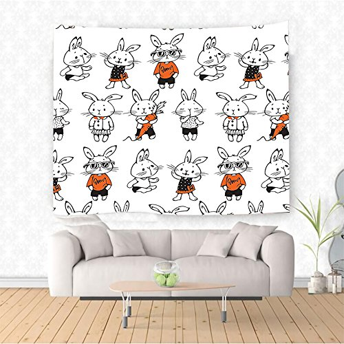 Dali Clock Costume (Nalahome cor Cute Retro Bunny Rabbits With Costumes Jack Hare Funky Bunnies Carrot Sketch Style Print Orange White Ethnic Decorative Tapestry Blanket Wall Art Design Handicrafts 10W x 8L Inches)