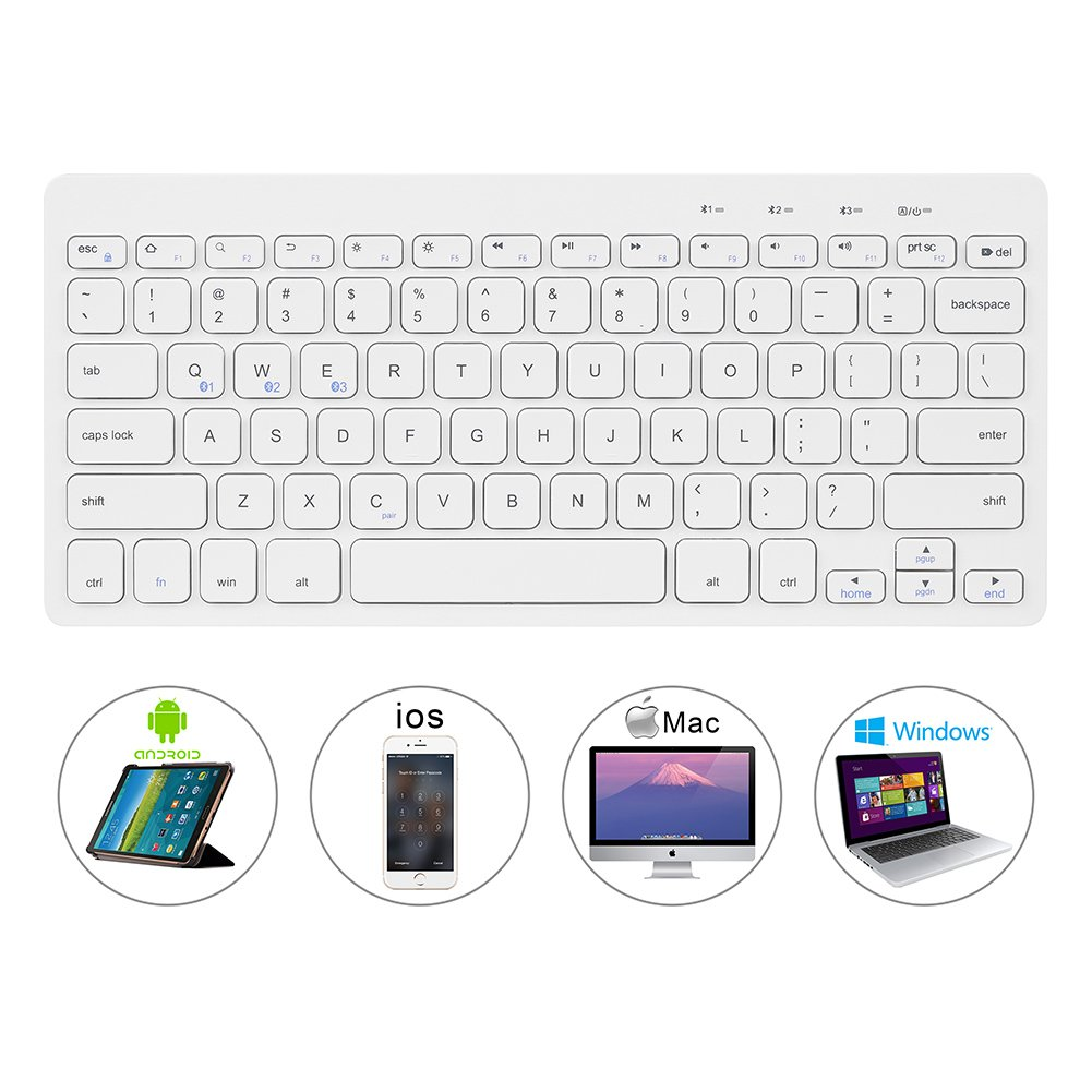 Bluetooth Ultra-Slim Keyboard Wireless with Foldable Stand for iPad Air 2 / Air, iPad Pro, iPad mini 4 / 3 / 2 / 1, iPad 4 / 3 / 2, New iPad, Galaxy Tabs and Other Bluetooth Enabled Devices (White) by Bluegoo (Image #3)