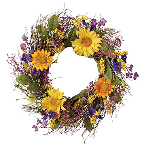 "DII Decorative Sunflower 22"" Summer Wreath for Front Door or Indoor Wall Décor to Celebrate Spring & Summer Season"