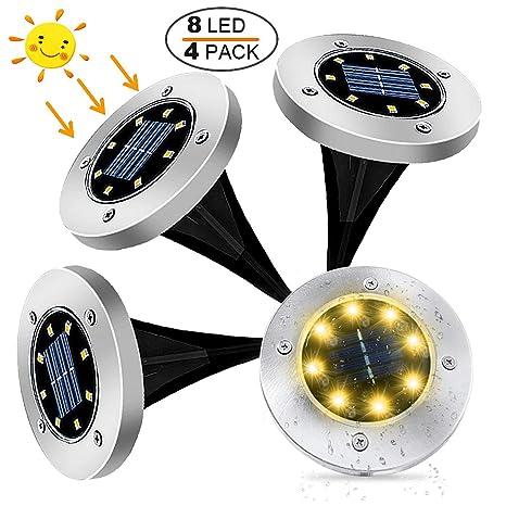 Lampade Solari Da Giardino Amazon.4 Pezzi Lampade Da Giardino Solari 8led Luce 100lm Kdorrku 600mah Batteria Integrata Luci Solari Giardino Ip65 Impermeabili Fari Calpestabili Per