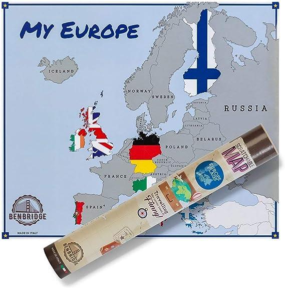Carte de lEurope à gratter version drapeaux - Voyagez et grattez les pays que vous avez visités pour obtenir une carte personnalisée - Made in Italy: Amazon.es ...