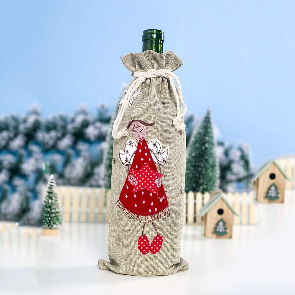 LPxdywlk Conjunto De Botellas De Vino De Navidad Lino Bordado Papá Noel con Cordón Tapa De Botella De Vino Tinto Bolsa De Champán Fiesta Fiesta Decoración De Mesa Viejo Hombre: Amazon.es: Hogar