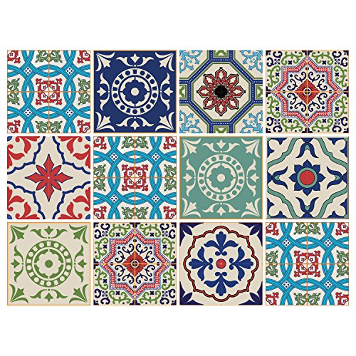 - 12 PC Pack Tile Stickers Home & Kitchen Self Adhesive Tile Decals Decor 6x6 Inch DIY Wall Sticker (Mexican Color Love)