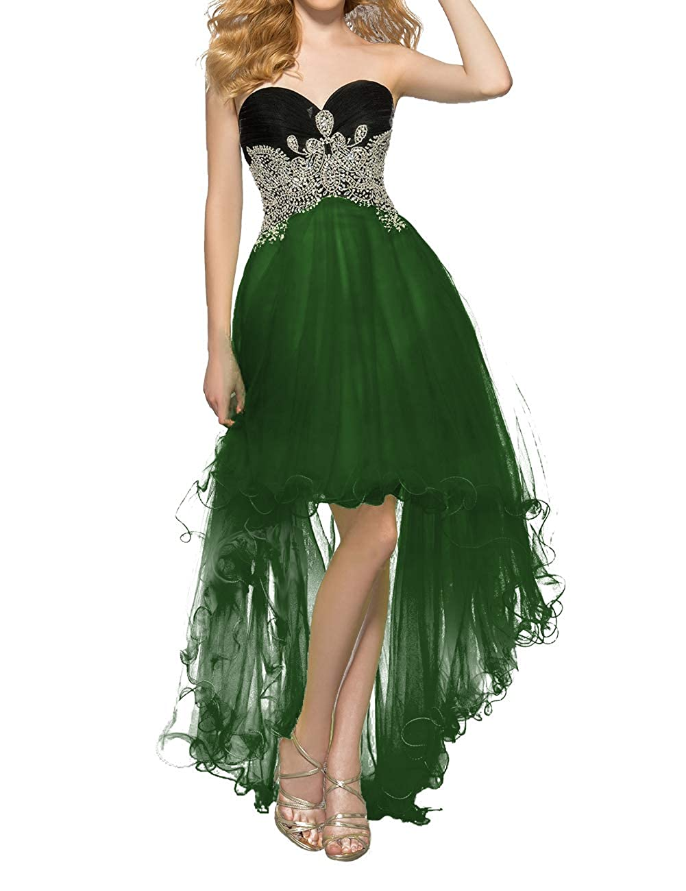 Deep Green Uther Women's Tulle HiLow Beaded Prom Dresses Strapless Evening Homecoming Cocktail Gowns