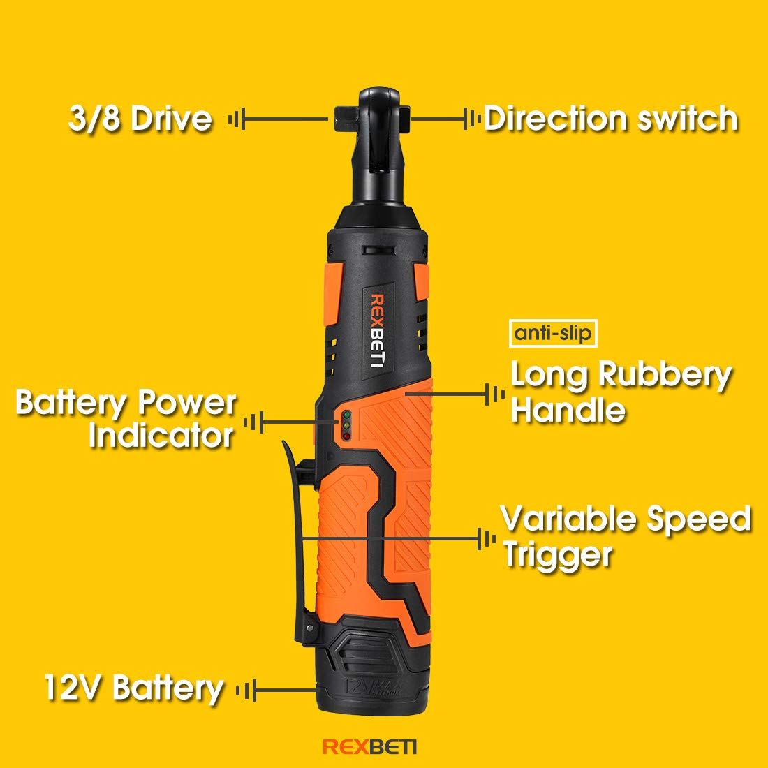REXBETI Cordless 3/8'' Electric Ratchet Wrench Set with 12V Lithium-Ion Battery and Charger Kit, Include 7-piece 3/8'' Metric Sockets and 1-piece 1/4'' Socket Adapter, 45Nm of Maximum Torque by REXBETI (Image #5)