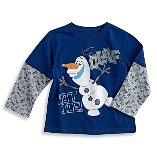 52d9a6655798 Amazon.com: Disney Frozen Olaf Graphic Long Sleeve T-shirt, Navy (4t ...