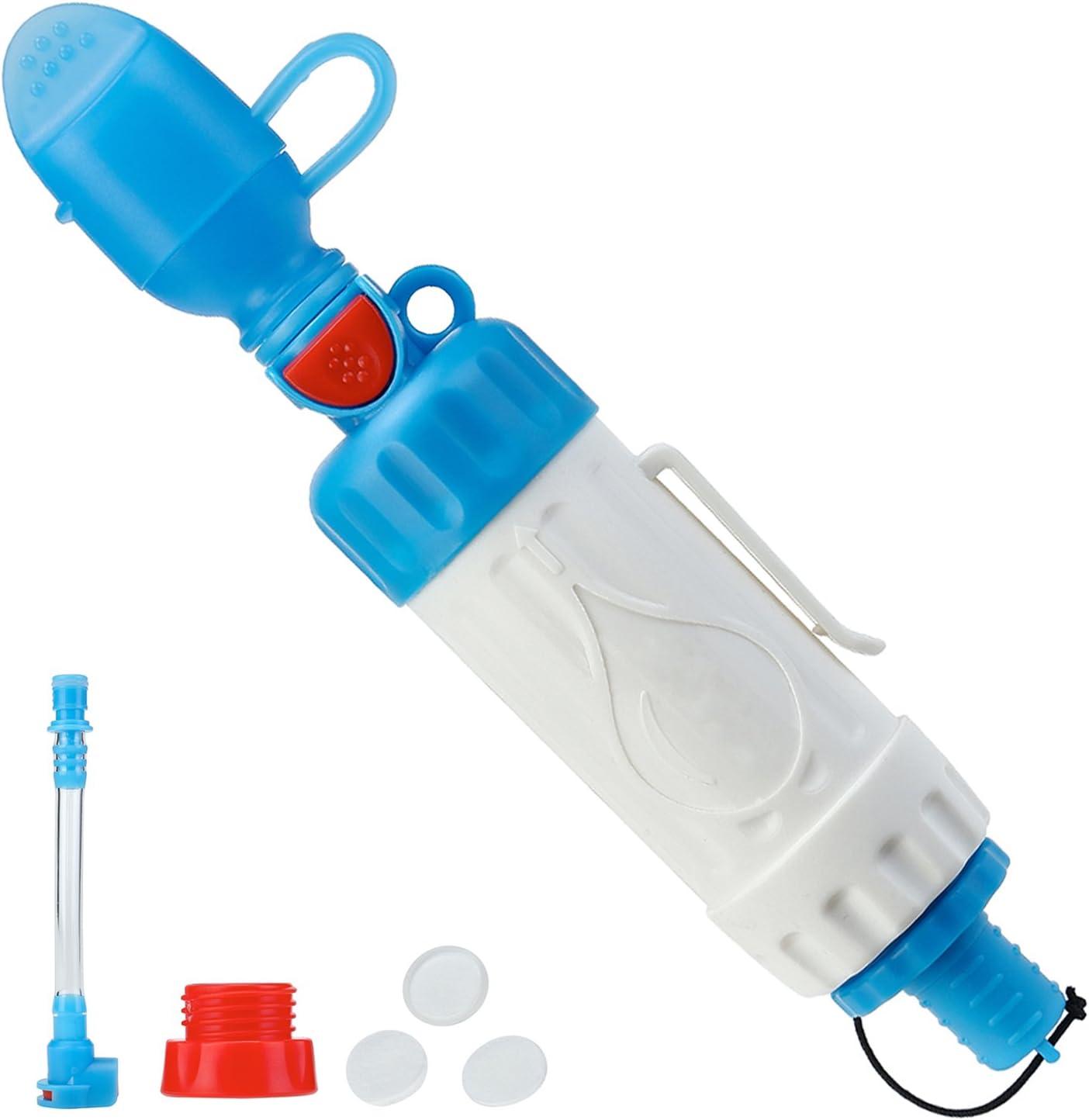 topnaca portátil purificador de paja con de supervivencia de filtración de filtro de agua 3 Etapa Filtración de 0,01 micrones, reutilizable lavable para seguro de acampada senderismo viajes de emergencia Pre, Unisex,
