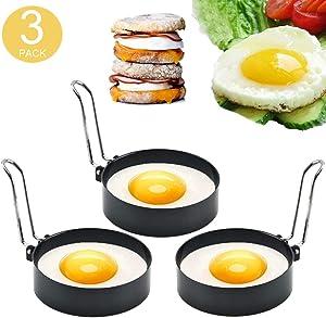 Egg Rings,3 Packs Round Egg Cooker Rings,Non-Stick Stainless Steel Egg Ring Mold Circles,Egg Pancaker Molds,Metal Circle Egg Maker Mold,Egg Ring Mold,Egg Cooking Tool for Fried Egg,Pancakes,Sandwiches