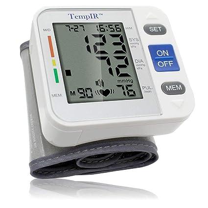 Tensiometros Muñeca Monitor de Presión Arterial Digital con Detector de Ritmo Cardíaco, Tensiometro Electrónicos,