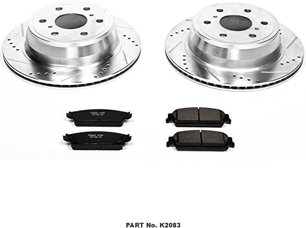 Power Stop K2833 Front and Rear Z23 Evolution Brake Kit with Drilled//Slotted Rotors and Ceramic Brake Pads