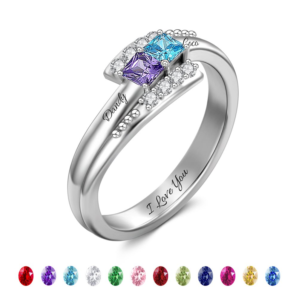SOUFEEL Personalized Ring Engravable Promise Ring For Her Crystals Changeable