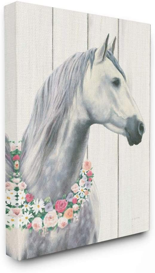 Stupell Industries Spirit Stallion Horse With Flower Wreath Stretched Canvas Wall Art, Proudly Made in USA