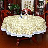 Water-proof large round table cloth Pvc oil-free cleaning round table cloth Garden home hotel plastic tablecloth-B Diameter:152cm(60inch)