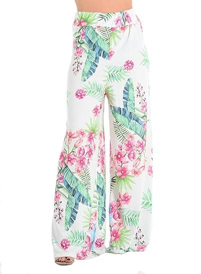 baa6e0b9b91 Womens Floral Tropical Leaf Print Palazzo Pants High Waist Wide Leg Trouser  at Amazon Women s Clothing store