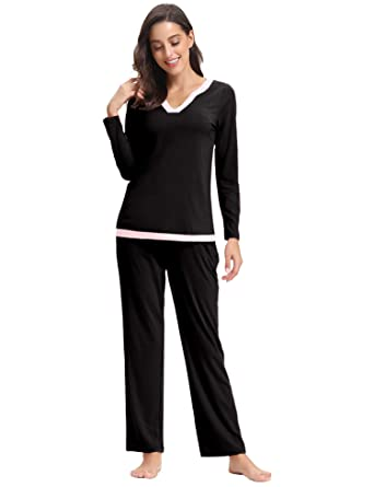 97fd42a8a2bb2c Aibrou Womens Pajama Set Cotton Soft Sleepwear Long Sleeve Loungewear Sleep  Set at Amazon Women's Clothing store: