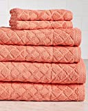 Milan 6 Piece Premium Towel Set, 630 GSM 100% Terry Cotton - Coral - Hotel Quality, Super Soft and Highly Absorbent
