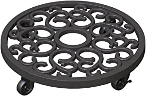 Panacea 84725 Heavy Weight Cast Iron Scroll Plant Caddy - 12 Inch