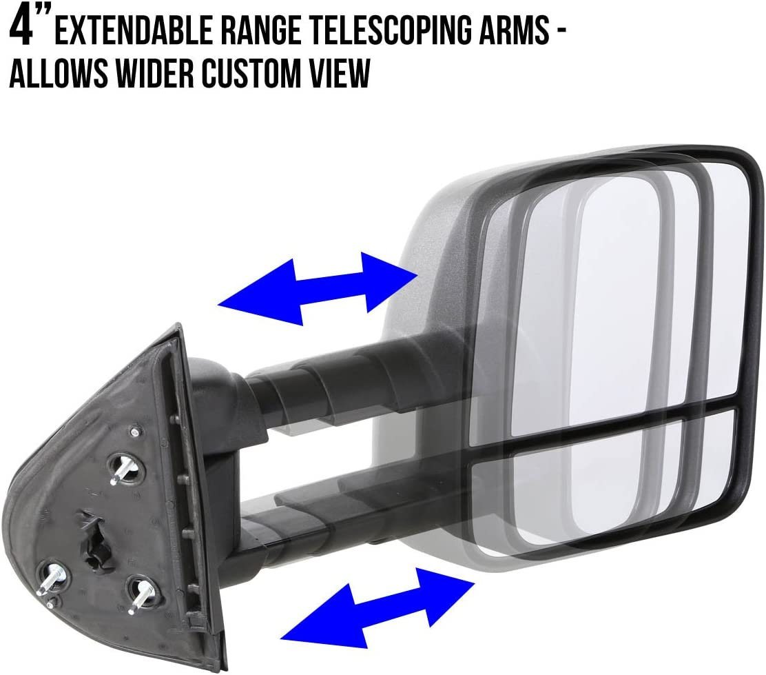 For Chevy//GMC C//K-Series C10 GMT400 Pair of Chrome Powered Telescopic Towing Side Mirrors Manual Folding Extended Arm