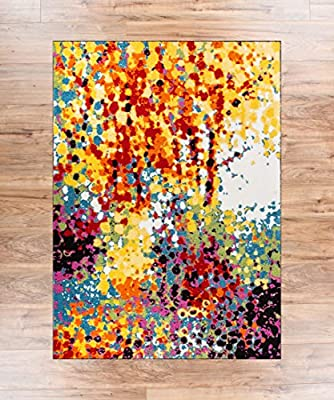 Blooms Multi Color Geometric Brush Stroke Area Rug Shed Free Modern Abstract Contemporary Painting Art Thick Soft Plush Living Dining Children Room Playroom Nursery