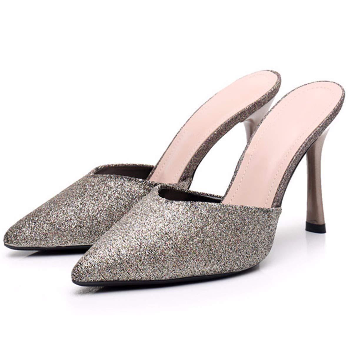 KPHY Damenschuhe Sexy Spitze Dünn Und Semi - Pantoffeln Passende Schuhe Hinten Leer Baotou Mode - Mädchen.35 Champagner - Farbe