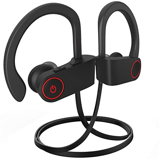 Wireless Bluetooth Headphones IPX7 Waterproof, HD Stereo Sweatproof Earbuds with Mic for Gym Running Workout (Black)