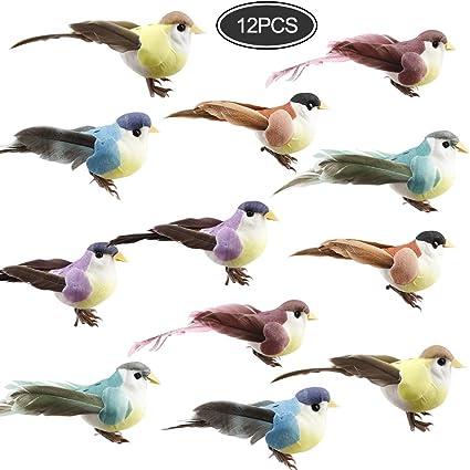 Magpie Artificial Foam Feather Birds with Clip Realistic Ornament Decor