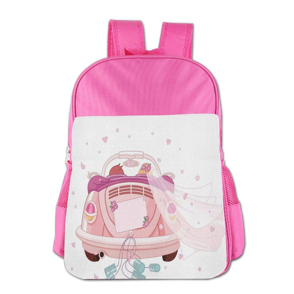 Haixia Kids' Boy's&Girl's Backpacks Wedding Decorations Happy Bride and Groom in Old Fashioned Car Hearts Blue Cans Full Light Pink Blue White