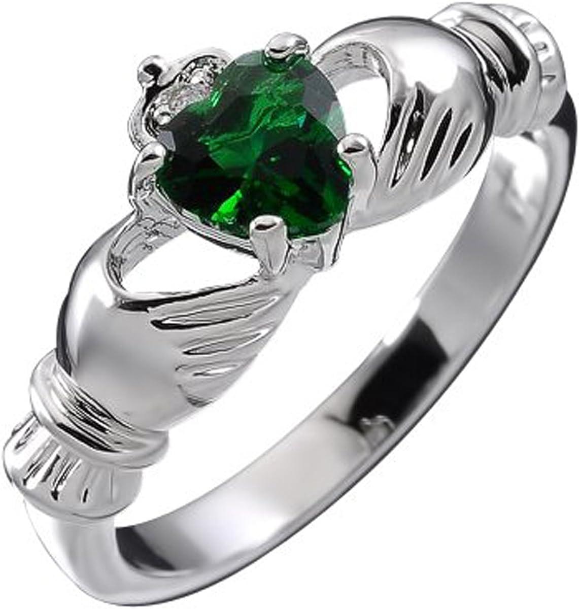 GWG Jewellery Anillos Mujer Regalo Anillo de Claddagh Plata de Ley Dos Manos Que Rodean Corazón de Circonita de Color Esmeralda Verde con Corona para Mujeres