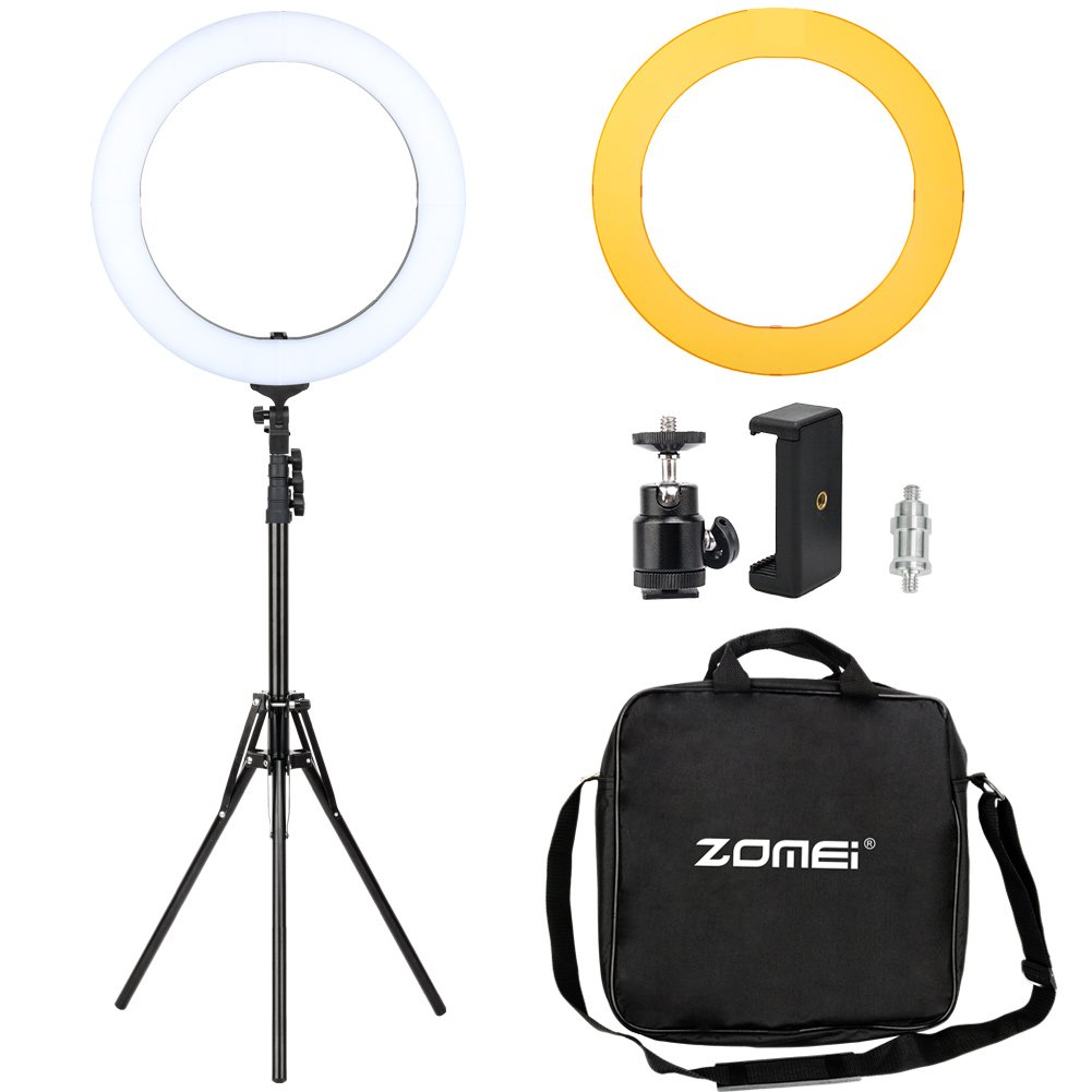 Zomei 18-inch Dimmable LED Ring Light Kit with Stand - (58W 5500K) - for Camera, Smartphone, Makeup, Youtube, Vine Self-Portrait Video Shooting