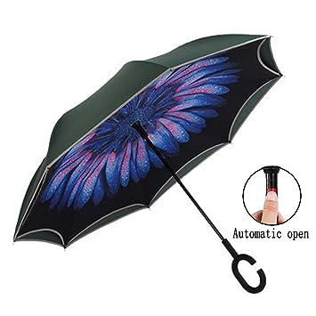 Pequeño Lucky Auto abierto paraguas invertido doble capa para coche y uso en exteriores, Margarita
