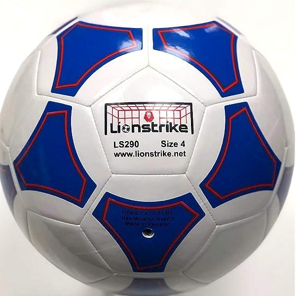 Balón de fútbol Lionstrike, de piel, tamaño 4, color blanco ...