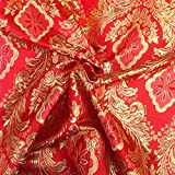 """Metallic Floral Brocade Fabric 60"""" By Yard in Red Gold White Purple Blue Green (Red / Gold)"""