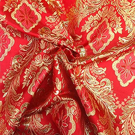 amazon com metallic floral brocade fabric 60 by yard in red gold