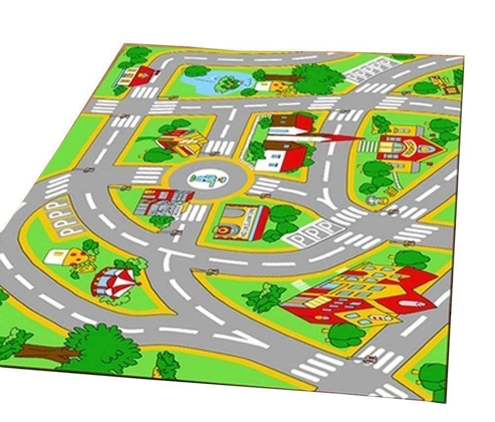 HUAHOO Kids' Rug with Roads Kids Rug Play mat City Street Map Children Learning Carpet Play Carpet Kids Rugs Boy Girl Nursery Bedroom Playroom Classrooms Play Mat Children's Area Rug, 3'3'' x 5'