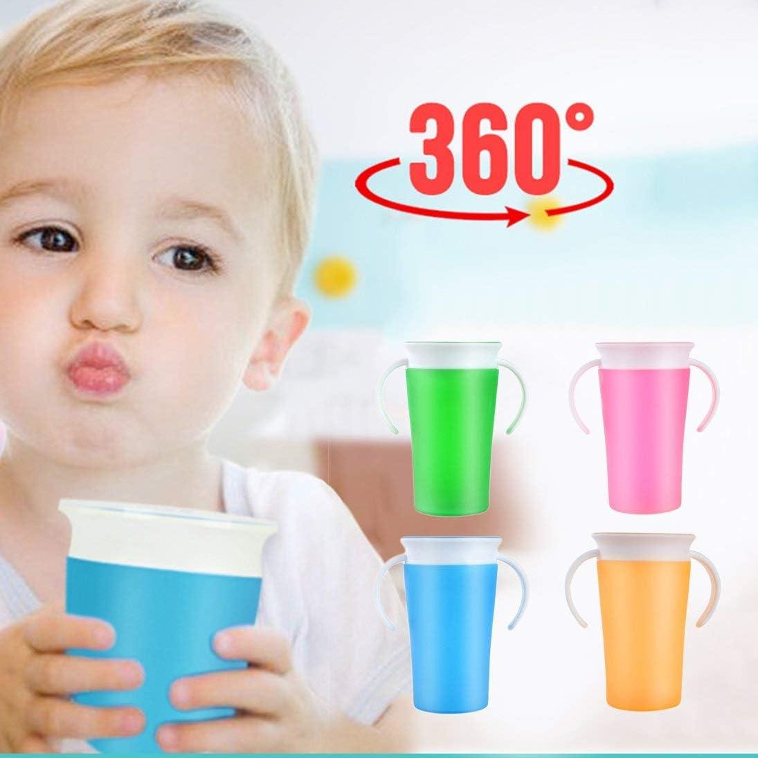 Beb/é Que aprende la Taza de Beber 360 Grados de Agua con Leche Botella de Paja con Mango Mango a Prueba de Fugas Aprendizaje Seguro Copa de Entrenamiento