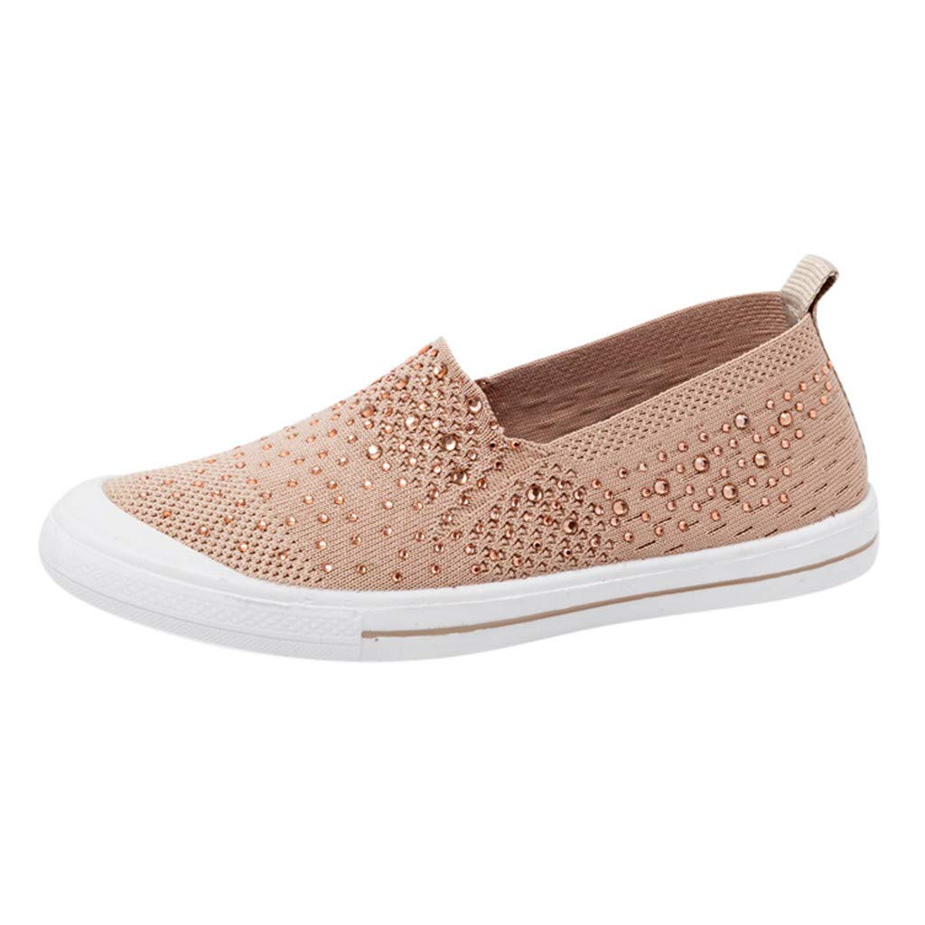 ZOMUSAR New! 2019 Summer Women's Lazy Shoes Wild Breathable Flat Single Shoes Casual Sports Shoes Beige
