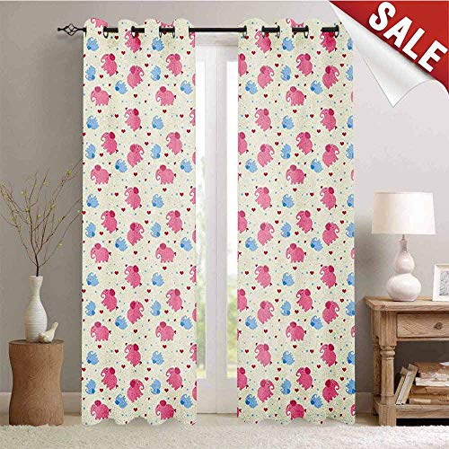Elephant Window Curtain Fabric Cheerful Cute Kids Pattern with Red Hearts and Blue Dots Cartoon Style Lovely Zoo Drapes for Living Room W72 x L108 Inch Multicolor ()