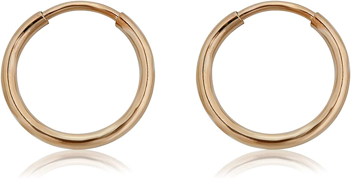 14K White Gold Polished 31mm Round Endless Hoop Earrings