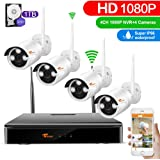 CORSEE 4 Channel 1080P Full HD Wireless Security Camera System with 4PCS 2.0 Megapixel Wireless Surveillance Bullet Camera, Clearly Night Vision,Motion Detection Alert,1TB Hard Drive