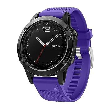 squarex Silicagel - Correa de repuesto para reloj GPS Garmin Fenix 5, color morado: Amazon.es: Deportes y aire libre