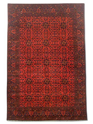 Pak Persian Rugs Traditional Afghan Handmade Khal Mohammadi Rug, Wool, FireBrick, 6