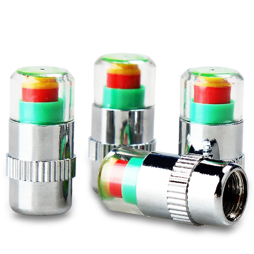 4x Tire Pressure Monitor Valve Stem Cap Tyre Sensor Indicator Auto Car 3 Color Eye Alert Wheel Tyre Air Valve Caps
