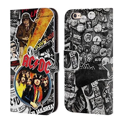 Officiel AC/DC ACDC Icônes Collage Étui Coque De Livre En Cuir Pour Apple iPhone 6 / 6s
