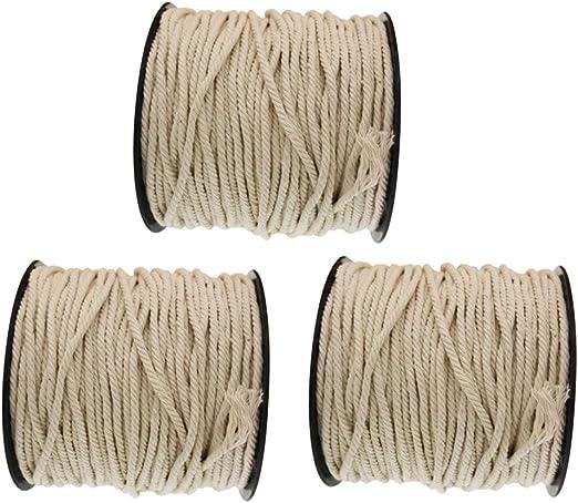 3 Rollo Cuerda de Algodón Natural Trenzado Cuerdas Cordelería Artesanía Blanco Crudo: Amazon.es: Hogar
