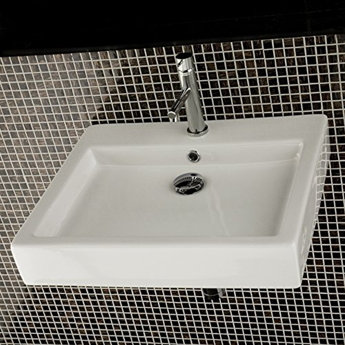 - Wall-mounted or above-counter porcelain lavatory with overflow, 22 1/4
