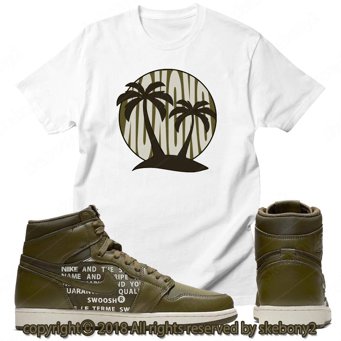 76ece7aa8092 Custom T Shirt Matching Air Jordan 1 Retro High OG Olive Canvas JD 1-20-8  at Amazon Men s Clothing store