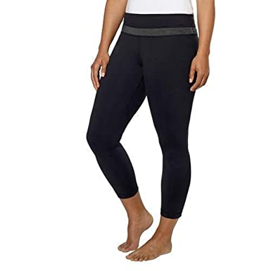 bb1335bed82 Kirkland Signature Ladies' Active Yoga 3/4 Legging Black/Grey (Small)