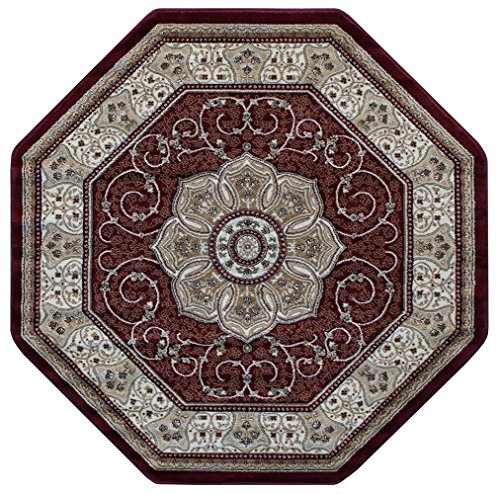 Traditional Octagon Area Rug Design 404 Burgundy (4 feet x 4 feet) Octagon (Rug Oriental Octagonal)